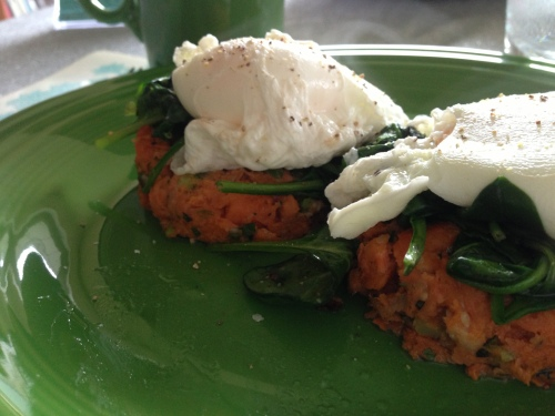 sweet potato salmon cake breakfast