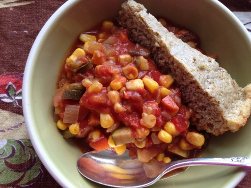 Mexican vegetables with Cornbread